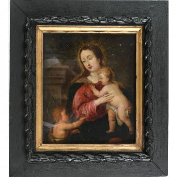 N°1-ECOLE DU NORD XVIIè. «Vierge à l'enfant et au petit Saint Jean Baptiste». Huile sur cuivre. H.20 L.18.