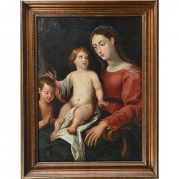 N°2-ECOLE DU NORD fin XVIIè début XVIIIè. «La Sainte famille et le petit Saint Jean-Baptiste». Huile sur toile (réentoilée). H.101 L73.