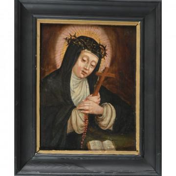 N°3-ECOLE DU NORD XVIIè. «Vierge à la souffrance et à la prière». Huile sur panneau. H.28 L.22.