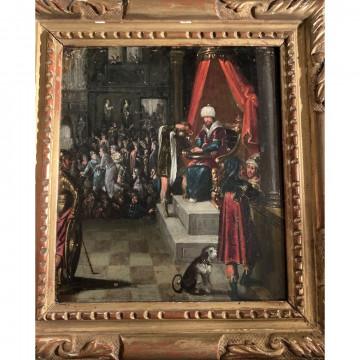 N°4-ÉCOLE DU NORD du XVIIè. «Le grand prêtre Caïphe après le jugement du Christ». Huile sur cuivre dans un cadre en bois doré. H.18 L.15.