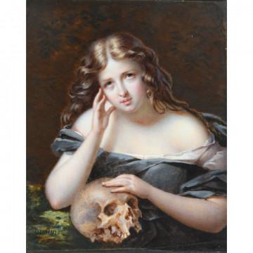 N°5-DROUIN Jean-Pierre. (1782-1861). «Marie-Madeleine». Miniature sur ivoire signée en bas à gauche. H.14,2 L.11,5.