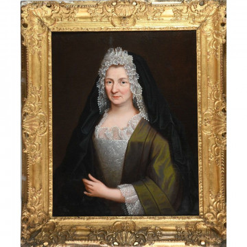 N°6-ECOLE FRANCAISE DU XVIIIè. «Portrait de Madame  DE RAINVILLERS». Provenance du château d'Etry. Huile sur toile dans un joli cadre en bois doré et sculpté d'époque Régence. H.81 L.66.