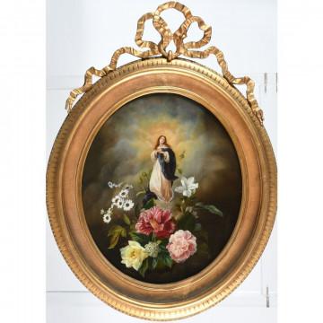N°7-ECOLE DU NORD XIXè. «Vierge d'assomption représentée sur un bouquet de fleurs». Huile sur panneau dans un cadre à nœud de ruban. H.52 L.44.