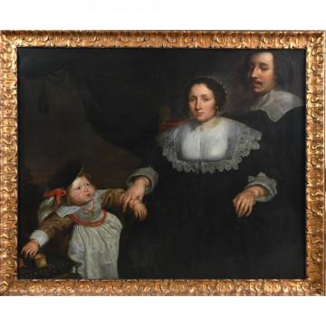 N°8-DE VOS Cornelis. (1854-1651). (Attribué à). «Portrait de famille avec la jeune fille». Huile sur toile. H.105 L.133.