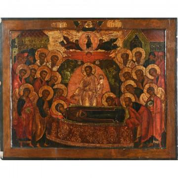 N°9-RUSSIE XIXè. «Dormition de la vierge». Peinture sur bois. H.54 L67. Le terme dormition évoque une mort paisible tel un endormissement, ce qui est le cas pour la Vierge. Pour y assister, les apôtres en mission d'évangélisation dans le monde sont amen
